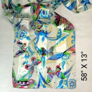 """Accessories - Butterfly Scarf 58""""X 13"""" Sheer Solid Stripes"""